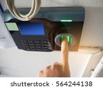 hand and scanning finger... | Shutterstock . vector #564244138