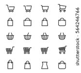 shopping baskets and store bags ...   Shutterstock .eps vector #564246766