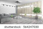modern bright interior . 3d... | Shutterstock . vector #564247030