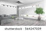 modern bright interior . 3d... | Shutterstock . vector #564247039