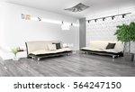 modern bright interior . 3d... | Shutterstock . vector #564247150