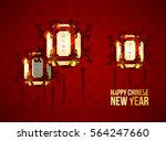 red chinese lanterns vector.... | Shutterstock .eps vector #564247660