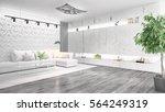 modern bright interior . 3d... | Shutterstock . vector #564249319