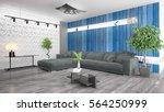 modern bright interior . 3d... | Shutterstock . vector #564250999