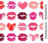 seamless pattern with lipstick... | Shutterstock . vector #564264478