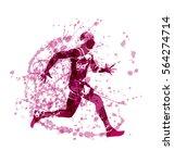 grunge vector silhouette of a... | Shutterstock .eps vector #564274714
