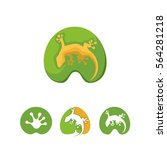 Lizard  Gecko Logo Set In Leaf