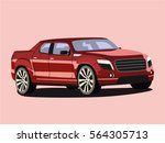 Pickup Red Realistic Vector...