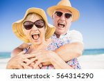 senior couple with hat... | Shutterstock . vector #564314290