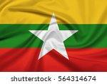 myanmar flag with fabric... | Shutterstock . vector #564314674