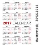 2017 calendar on white... | Shutterstock .eps vector #564319318