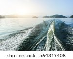 Blue Sea With Prop Wash Wake...