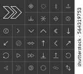 thin line arrow icon set for...