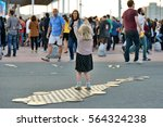 barcelona   jun 1  people at... | Shutterstock . vector #564324238