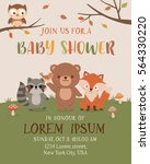 Stock vector cute woodland animals illustration for baby shower invitation card design template 564330220