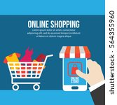online shopping illustration | Shutterstock .eps vector #564355960