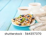 homemade wafers with berries... | Shutterstock . vector #564357370