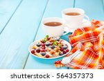 homemade wafers with berries... | Shutterstock . vector #564357373
