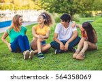 group of happy teenagers in the ... | Shutterstock . vector #564358069
