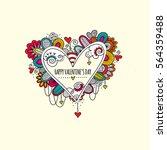happy valentine's day hand... | Shutterstock .eps vector #564359488