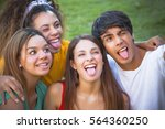 group of happy teenagers in the ... | Shutterstock . vector #564360250