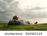 carefree happy woman traveler...   Shutterstock . vector #564362119