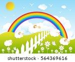 counting sheep. cartoon...   Shutterstock .eps vector #564369616
