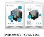Blue hexagon annual report Leaflet Brochure Flyer template design, book cover layout design, abstract business presentation template, a4 size design | Shutterstock vector #564371158