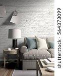 modern bright interior . 3d...   Shutterstock . vector #564373099