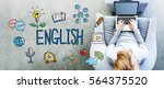 english text with man using a... | Shutterstock . vector #564375520