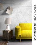 modern bright interior . 3d... | Shutterstock . vector #564376486