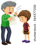 angry father and boy with bad... | Shutterstock .eps vector #564377200
