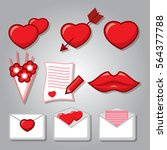 saint valentine's day icon set. ... | Shutterstock .eps vector #564377788
