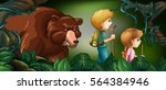 two kids hiking in deep forest... | Shutterstock .eps vector #564384946