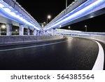 empty road floor with city... | Shutterstock . vector #564385564