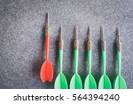 red dart standing out from... | Shutterstock . vector #564394240