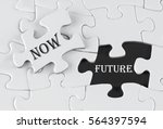 white puzzle with void in the... | Shutterstock . vector #564397594