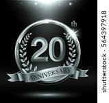 template silver logo 20th... | Shutterstock .eps vector #564397918