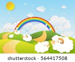 landscape sheep in a field... | Shutterstock .eps vector #564417508