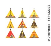 cartoon wigwams or tepees icons ... | Shutterstock .eps vector #564422338