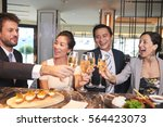 cheerful friends drinking... | Shutterstock . vector #564423073