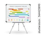 gantt progress line and flip... | Shutterstock .eps vector #564425890