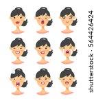 set of asian emoji character.... | Shutterstock .eps vector #564426424