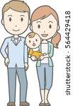 happy family no.04  family of 3 ... | Shutterstock .eps vector #564429418