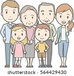 happy family no.02  family of 6 ... | Shutterstock .eps vector #564429430