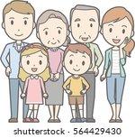 happy family no.02  family of 6 ... | Shutterstock .eps vector #564429430