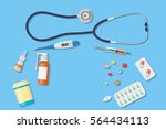 top view of doctor workplace.... | Shutterstock .eps vector #564434113