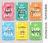 set colorful fast food posters. ... | Shutterstock .eps vector #564436888