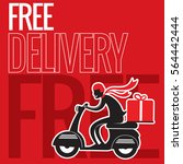 free delivery boy ride... | Shutterstock .eps vector #564442444