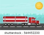 flat vector truck. vector... | Shutterstock .eps vector #564452233